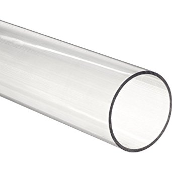 "Clear Fused Quartz Tubing 32mm ID  36mm OD  48"" L"